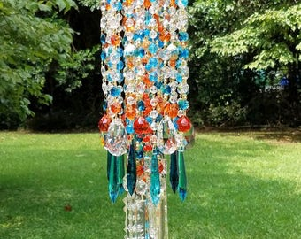 Antique Crystal Wind Chime, Orange and Turquoise Crystal Wind Chime, Garden Art, Garden Decor, Crystal Art, Crystal Sun Catcher, Boho