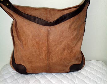 Kate Landry slim hobo purse handbag vintage , top zip closure, single strap crinkle cocoa n brown color  genuine leather 90s pristine