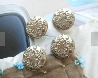 4 Retro Vintage Style Silver Champagne Floral Flower Shirt Wedding Jacket Coat Sweater Metal Button 0.8 Inches / 2.2 cm