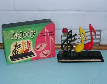 Vintage Salt and Pepper Shakers Vintage Musical Notes Salt and Pepper Shakers In Original Box