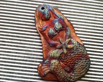 231. Wondrousstrange Raku Melusina Copper Fuchia Moss Green Come to the Grotto With Me Raku Pendant