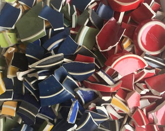 Broken China Mosaic Pieces - 8 pounds of Solid Colors Feet Red Blue Green Yellow Orange Black