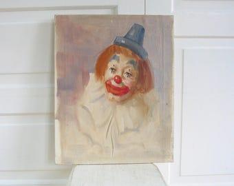 Vintage Clown Painting, Clown Art, Oil on Canvas Painting, Vintage Painting, Clown Portrait, Clown on Canvas, Clown School Painting