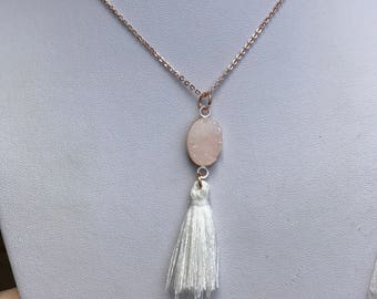 Rose gold druzy tassel necklace