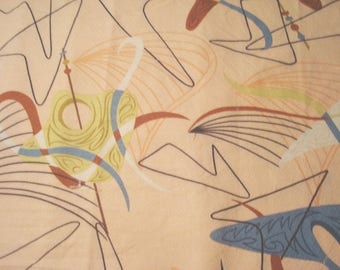 """Clearance! 12.5"""" x 56"""" Hoffman Discontinued Home Decorator Fabric Atomic Mid-century Modern OOP - pale pink background"""