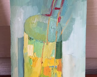 Yellow Vase, Original oil painting on paper