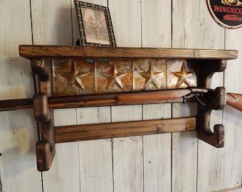 Double Gun Rack Wall Shelf