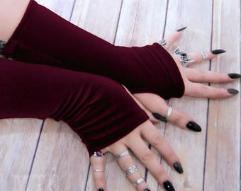 Gothic plush stretch Velvet arm warmers fingerless gloves with thumb holes MTcoffinz  MTC