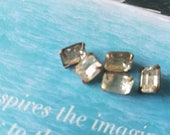 Vintage buttons 5 matching emerald cut style, metal small 3/8 inch rhinestone solitaire style, 1950's  (june 18 17)
