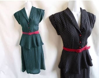 Vintage 70s does 40s Dress size S Navy Blue Polka Dot Peplum Disco Rockabilly