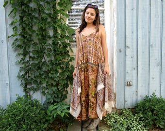 Upcycled Tribal Maxi Dress// Large// emmevielle