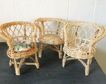 vintage mini wicker dollhouse furniture - rattan chair table - Barbie furniture - boho plant stands