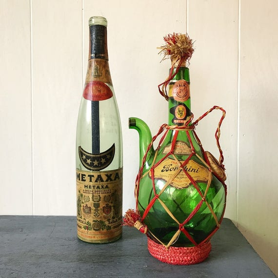 vintage wine bottle - glass wine carafe - Greek Metaxa decanter - Mid Century bar decor