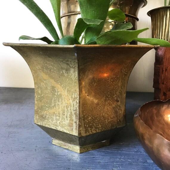 vintage brass planter - gold metal plant pot - Hollywood Regency - boho garden decor