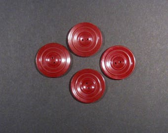 Vintage Bakelite Sewing Buttons - Dark Red - Set of Four