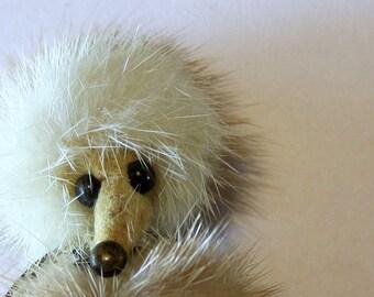 Vintage Mink Fur Dog Pin with Rhinestone Collar