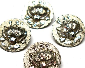 "4 Art Nouveau BUTTONS, Antique Victorian faux steel flowers in pewter. 9/16"". Unused."