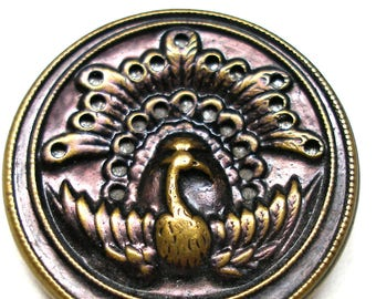 "Antique PEACOCK BUTTON,. Victorian bird twinkle button in purple, 1 1/8""."