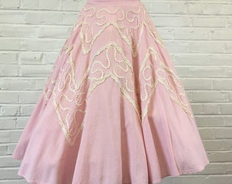 """Gorgeous 1950s Vintage Pink Gingham swing rockabilly Circle Skirt (as is), 26"""" waist"""