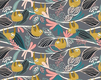 Sloth Pink - Rainforest Slumber - Katy Tanis - Blend Fabric 100% Quilters Cotton 124.105.01.1