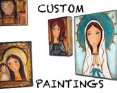 Custom Special Listing for Barbara - Original Mixed Media Paintings Virgin of Loreto and Saint  Charbel by FLOR LARIOS