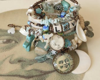 Moon River and Me Larimar and Pearl BOHO Rosary Set of 2 Bracelets