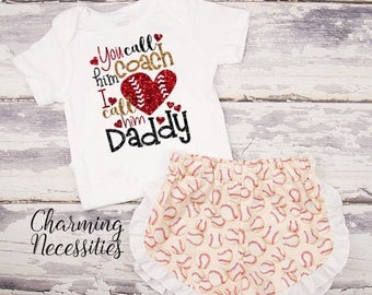 SALE Baseball Coaches Daughter Top and Ruffle Shorts Set, Fan, Baby Girl, Toddler Girl Clothes, You Call Him Coach I Call Him Daddy - Cream