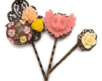 Owl Hair Pin Set of 3-Pink Owl Bobby Pins-Fashion Accessory-Pretty Patterns-Gifts for Teens-Antique Bronze-Bird Accessory-Bridesmaid Gift