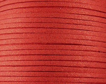 Faux Suede Cord By the Yard Orange Red Glitter 3mm thick (1013cor03m1-9)