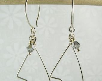 CHRISTMAS TREE EARRINGS, sterling silver pine tree shape earrings