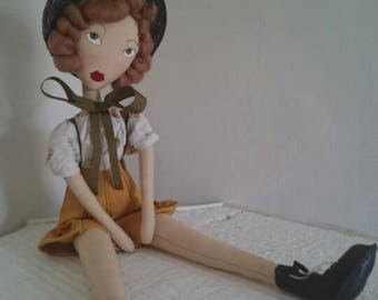 Gretel - Vintage 1950s Western Inspired Rag / Cloth Doll