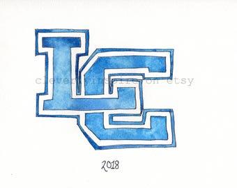 Lexington Catholic, Kentucky, personalized watercolor, class of 2018