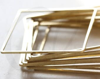 10 Pieces Raw Brass Square Blank Ring - Square 40mm (3606C-V-192)