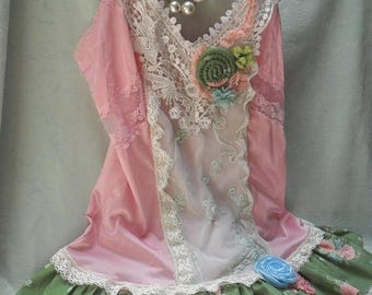 36% OFF Closet Cleaning TUNIC Top Tank Cami Whimsical Fairylike Ethereal Romantic Boho - Pinks and Flower Print