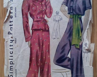 "1930s Pyjamas and Bolero - 32"" Bust - Simplicity 2509 - Vintage Sewing Pattern"