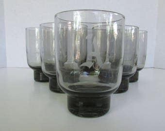 """Vintage Stackable Footed Bar Glasses in Smoke Grey, Etched w/ """"A"""", Set of 6 Mid Century Modern Barware"""