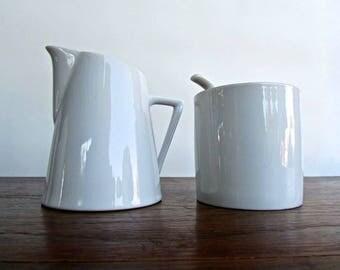 Vintage Modern Porcelain Creamer & Minimalist Sugar Bowl, MCM Japan