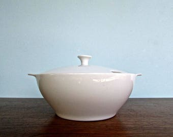 Vintage White Lugged Porcelain Covered Dish, Mid Century Modern Japan