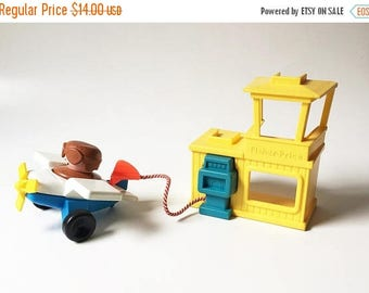 SALE Fisher Price Airplane 1990 Gas pump Chunky People Little People