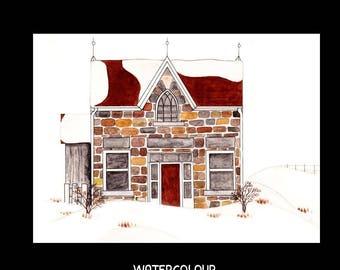 Note Card Set-Stone Farm House-Watercolour