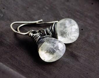 Moonstone Earrings, Moonstone Jewelry, Wire Wrapped, Drop Earrings, Dangle Earrings, Rainbow Moonstone, Sterling Silver, PoleStar