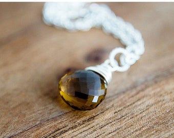 Whiskey Quartz Necklace, Gemstone Necklace, Gemstone Pendant, Whiskey Quartz, Quartz Necklace, Sterling Silver, Caramel Brown, PoleStar