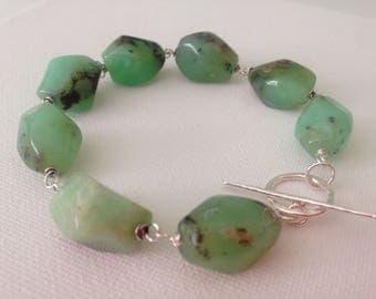 Chrysoprase nugget bead bracelet, green bead bracelet , chunky bead bracelet.