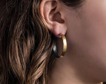 30mm, 22k Gold  Hoop Earrings, Wide