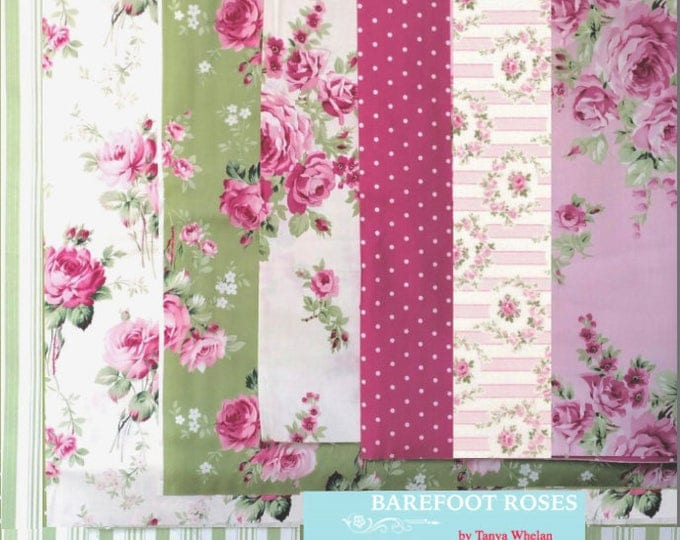 Tanya Whelan - Barefoot Roses Legacy, french country cottage chic fat quarter bundle, 7 pieces