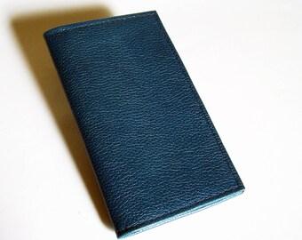Blue Leather Checkbook Cover - Blue Checkbook Holder
