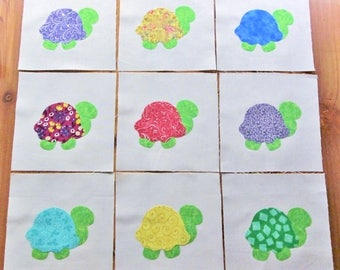 "Set of 9  Cute Bright Turtle   6"" x 6""  Cotton Quilt Blocks"