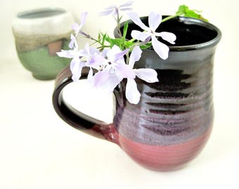 22 oz Purple mug, large handmade stoneware mug, Raspberry red  mug, gift for her - In stock
