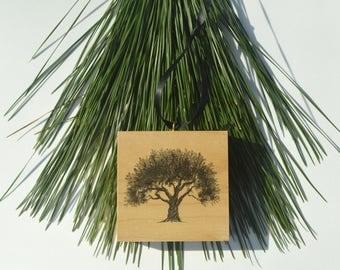 Olive Tree Christmas Ornament Wood Block