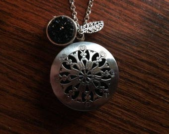 Black Druzy Druzie Feather Antique Silver large Filigree Diffuser Boho Necklace use with Young Living Essential Oils